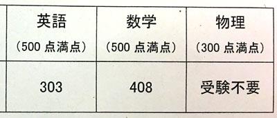 31年度(2018年)東大編入試験に合格したS.R.氏の成績開示
